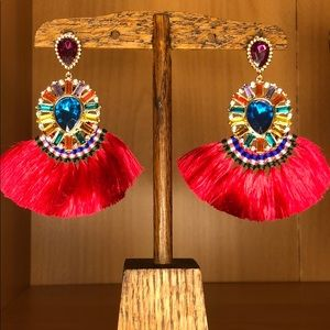 Jewelry - Statement earrings with fringe and rhinestones
